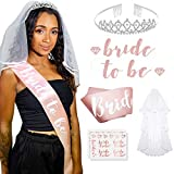 Bachelorette Party Decoration Set with Rose Gold Bride-to-Be Banner and Sash, Tiara, White Veil and Set of 12 Piece Bride and Bride Tribe Flash Tattoos for Bridal Showers, Engagement Party Supplies