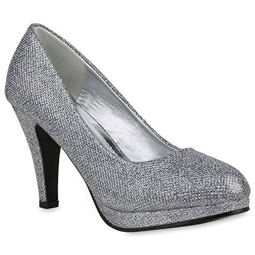 Stiefelparadies Klassische Damen Pumps Stiletto High Heels Leder-Optik Schuhe Flandell Grau