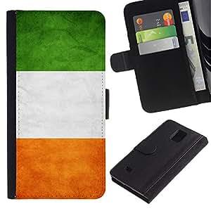 LASTONE PHONE CASE / Lujo Billetera de Cuero Caso del tirón Titular de la tarjeta Flip Carcasa Funda para Samsung Galaxy Note 4 SM-N910 / National Flag Nation Country Ireland