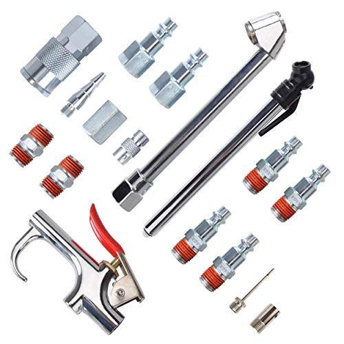 PowRyte 17-Piece Air Compressor Accessory Kit with Blow Gun and Iron Fittings by PowRyte