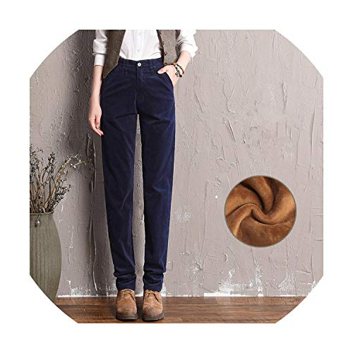 (Corduroy Pants Women Casual Winter Pants Women Long Straight Trousers,Navy Plus Velvet,34)