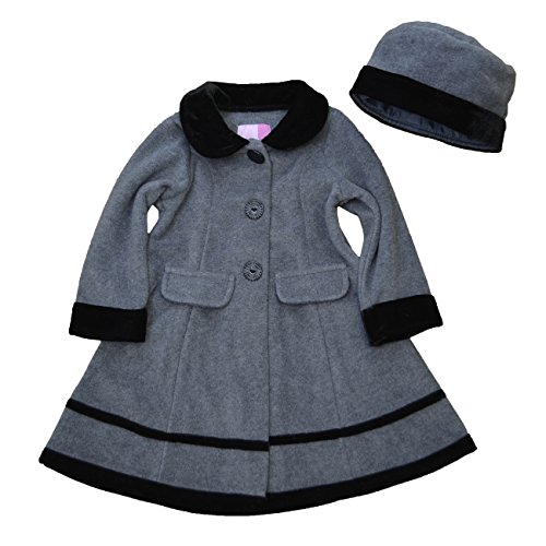 Good Lad Grey Fleece coat w/ black velvet trim and Matching hat,Gray,4T (Coat Velvet Trim)