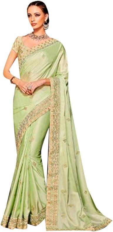 ETHNIC EMPORIUM Vestido de diseñador étnico Indio para Mujeres Sari Karwachauth y Diwali colección Seda Bordado Pesado 7229: Amazon.es: Ropa y accesorios