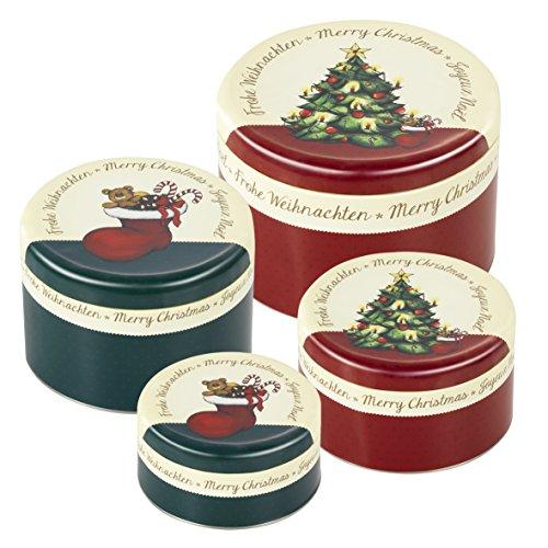 Gebäckdosen-Set 'Weihnachtsbaum', Keksdosen rund, 4 Stück, Ø 12 cm - Ø 16 cm