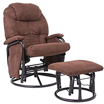 merax brown luxury suede fabric nursery glider rocking chair 360 swivel glider recliner chair
