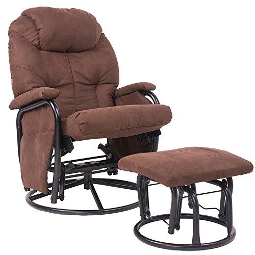 Pleasing Merax Brown Luxury Suede Fabric Nursery Glider Rocking Unemploymentrelief Wooden Chair Designs For Living Room Unemploymentrelieforg