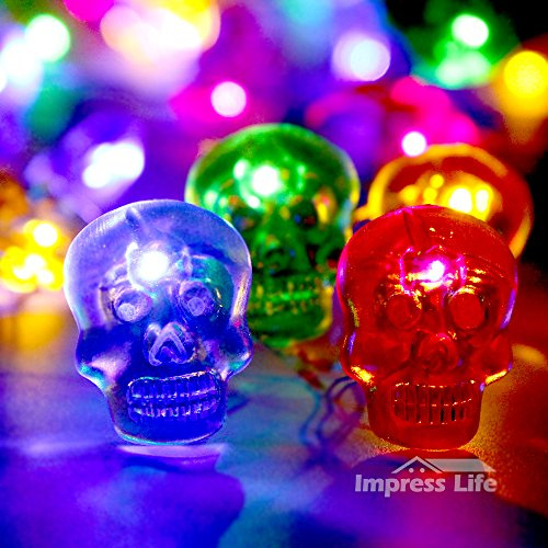 Impress Life Halloween Skull Decorative Lights, Land of Dead Costume Themed 10 ft Flexible Wire 40 LEDs with Dimmable Remote for Home Parties, Bedroom, Hall, Haunting House Decorations