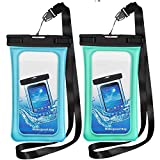 TeaTronics Floating Waterproof Case, Waterproof Phone Case IPX8 Waterproof Phone Pouch Available TPU Clear Dry Bag for All Smartphone up to 6.5' (Blue-Green)