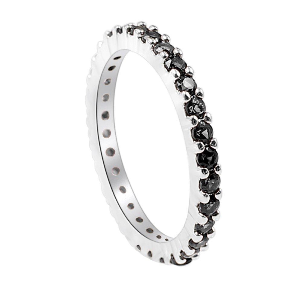 Sinlifu Silver Plated Round CZ Eternity Rings Wedding Band (Silver + Black CZ, 7)