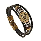Jauxin Leather Bracelet Unisex Constellation Braided Rope Zodiac Sign Bangle Cancer