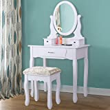 Makeup Vanity Table Set,Wood Dressing Table 3 Drawers Oval Mirror for Bedroom Morden Style White