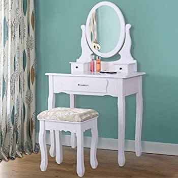 Makeup Vanity Table Set,Wood Dressing Table 3 Drawers Oval Mirror For  Bedroom Morden Style