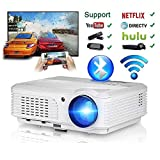 Video Bluetooth Projector WiFi Wireless 4400 Lumen LED 200' Dispaly, LCD Projector Support 1080p Full HD HDMI VGA USB AV, Home Theater Multimedia Smart Proyector for Phone Laptop Built-in Speaker