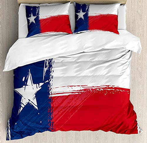 Texas Star King Size,Duvet Cover Set Grunge Flag with Watercolor Brush Strokes Independent Country Decorative 4 Piece Bedding Set with 2 Pillow Shams,Vermilion White Dark Blue (94 Country With Blue On Its Flag)