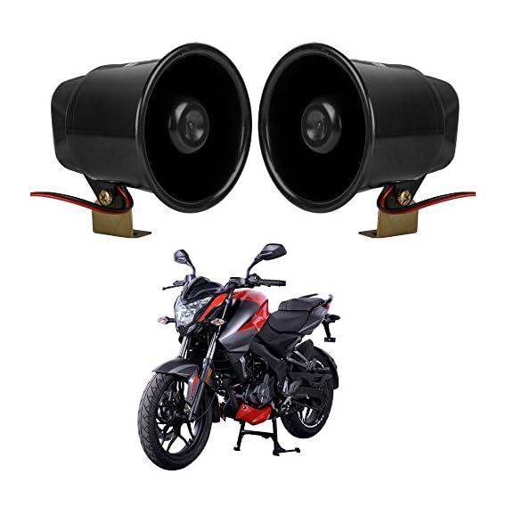 Autofy Super Loud Universal Bike Horn/Siren for All Bikes (Black Set of 2)