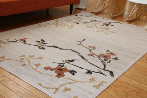 Brand New Contemporary Floral Rust Gold Beige White Black Modern Squares Area Rug 5'2 x 7'3