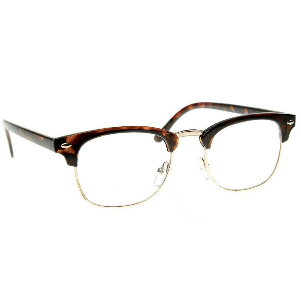 Classic Horned Rim Gold Accent Half Frame Sunglasses (Clear Tortoise, 49) Emblem Eyewear Clear Lens Half Frame Glasses