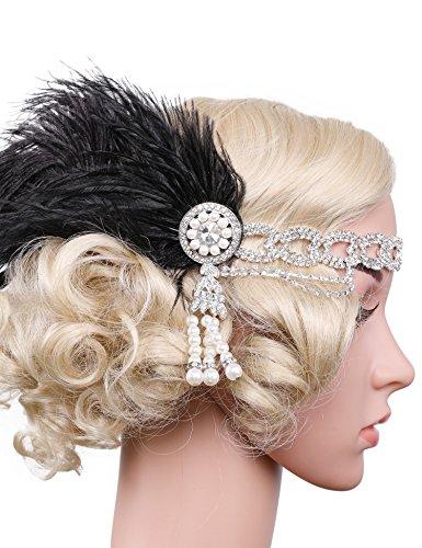 Flapper Girl Flapper Headband Black Feather Headband Tassel Hair Band Crystal Headband (Silver)