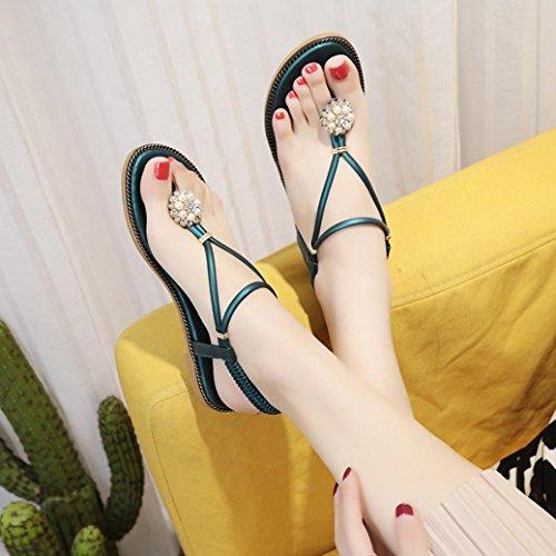 Talon Chaussures Sandales BohèMe de Bleu D'éTé Femmes Mode Ete Sandales Tissu Sandales Perles Femme Beautyjourney Plat Tongs Diamant Aiguille Sandales Sandales Sexy qUXqt