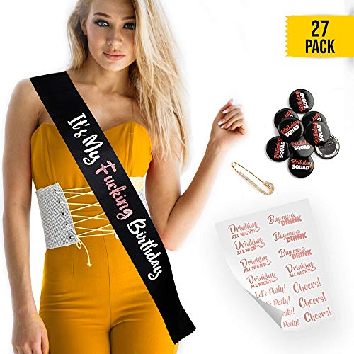 (CORRURE Birthday Sash, Buttons and Tattoos Set - Complete Rose Gold Birthday Kit for The Most Amazing Party with Your Squad - Funny Party Favors, Supplies for Your 21st, 25th, 30th or Any Other Bday)