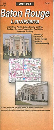 MAP OF BATON ROUGE LOUISIANA /CITY SERIES /STREETS /HUGE FOLDOUT++++
