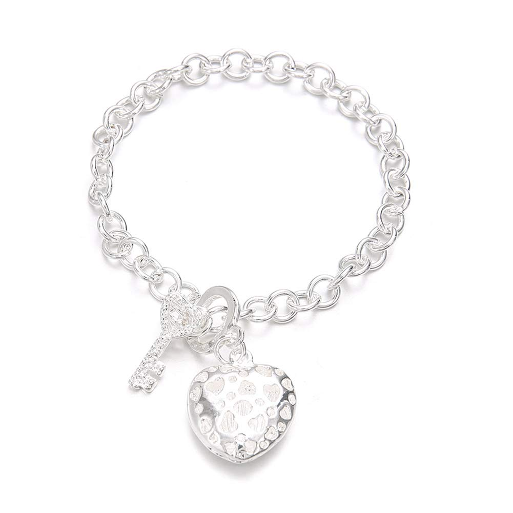meiyuan Fashion Women Love Heart Key Charm Rhinestone Bracelet Bangle Jewelry Silver