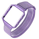 ESeekGo For Fitbit Blaze Band with Metal Frame, Milanese Loop Bands Replacement Stainless Steel Bracelet Strap for Fitbit Blaze Small (No Tracker, Purple)