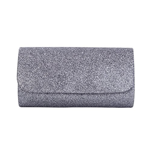 - Premium Small Metallic Glitter Flap Clutch Evening Bag Handbag, Grey