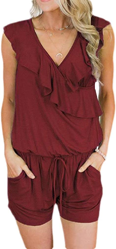 Pcutrone Women V-Neck Baggy Sleeveless Drawstring Pocket Rompers Jumpsuits