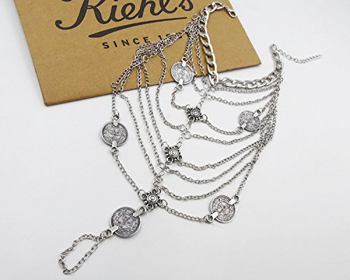 Miss Mara Bohemian Vintage Silver Coins Anklet Foot Jewelry Barefoot Sandal Anklet Chain (Silver) by Ms.Mara (Image #3)