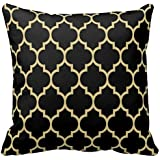 "Cotton Square Decorative Throw Pillow Case Cushion Cover Reversible Black And Gold Tan Quatrefoil Pattern Pillow Cover 16"" x 16"""