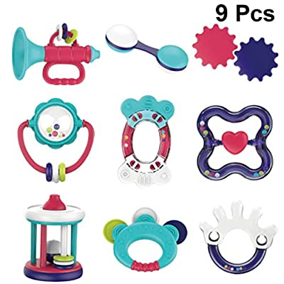 TOYANDONA Baby Rattle Teether Toy Newborn Appease Handbell Hand Grasp Ball Toddler Teething Toys Teether Chewing Biting Molar Toys for Toddler Infant Gift 9pcs: Toys & Games