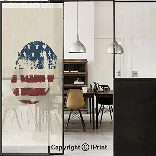 Sports 3D Decorative Film Privacy Window Film No Glue,Frosted Film Decorative,Grunge American Flag Themed Stitched Rugby Ball Vintage Design Football Theme,for Home&Office,23.6x70.8Inch Cream Blue Red