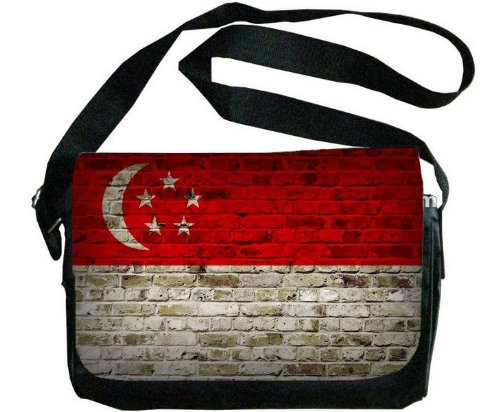 Singapore Flag Brick Wall Design Messenger Bag