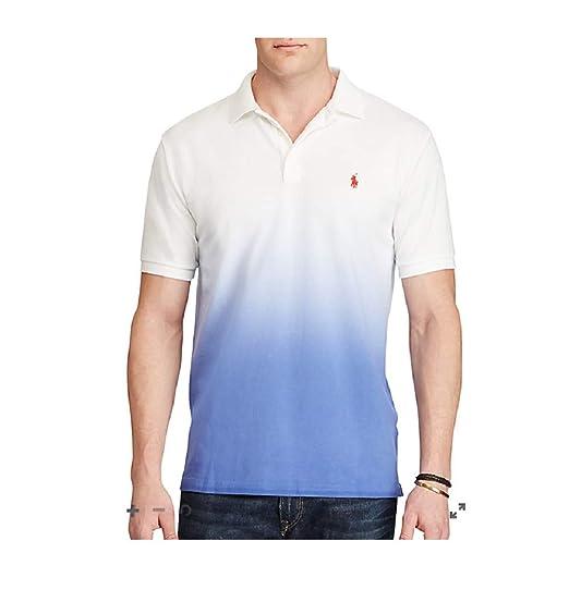f146e5d37 Ralph Lauren Polo Off-White DIP Dyed Blue ICON Polo Shirt Polo Shirt Men SZ   Small S  Amazon.co.uk  Clothing