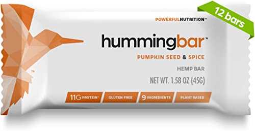 Humming Hemp Hummingbar, Nutrition Bar with Hemp Hearts, Gluten and Dairy Free, Pumpkin Seed Spice, 12-Count 8125-IC-U1