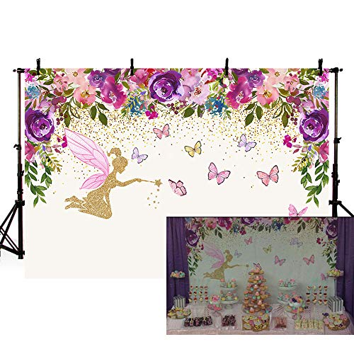 (MEHOFOTO Spring Fairy Princess Birthday Party Photo Studio Booth Backgrounds Tinkerbell Pink Purple Flowers Fairy Baby Shower Butterfly Girl Photography Backdrop Banner 7x5ft )
