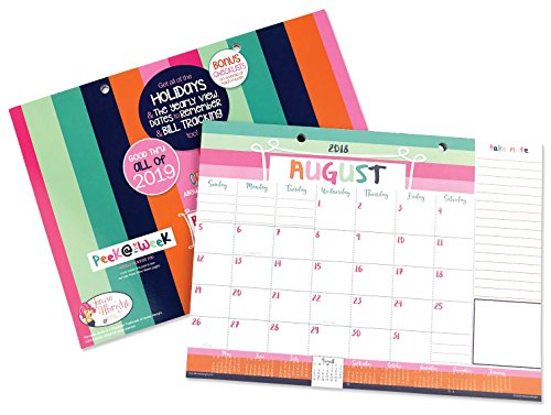2018-2019 Monthly Desk Pad or Wall Calendar, Dated August 2018 - December 2019, 12