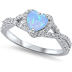Infinity Heart Light Blue Simulated Opal Promise Ring Sterling Silver Band Valentine's Day gift