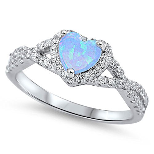 Infinity Heart Light Blue Simulated Opal Promise Ring Sterling Silver Band Size 7