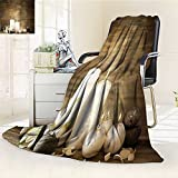 YOYI-HOME Silky Soft Plush Warm Duplex Printed Blanket,Spa Composition of Pure Candles Wooden Background with Stones and Flower Petals Brown and White Anti-Static,2 Ply Thick Blanket /W59 x H86.5
