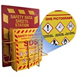 "Bilingual Right to Know SDS Center Wire Rack and 3"" Binder with GHS Pictograms"