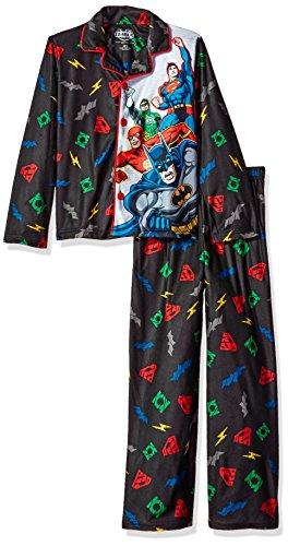 Justice League Big Boys' Coat Style Pajama Set, Black, (Coat Style Pajamas)