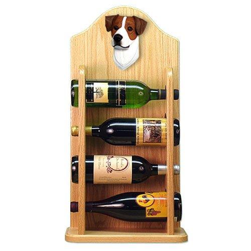 Michael Park BROWN AND WHITE Parson Russell Terrier Wine Rack 4 Bottle-Light Oak
