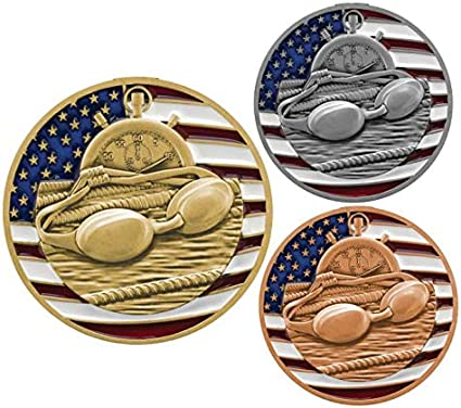 Decade Awards Swimming World Class Medal 3 Inch Wide Swim Meet Second Place Medallion with Stars and Stripes American Flag V Neck Ribbon