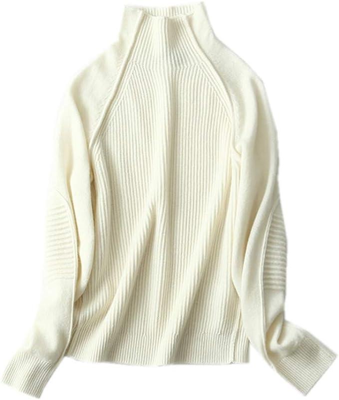 Wenwenma Donna Cashmere Pullover A Manica Lunga A Coste Dolcevita
