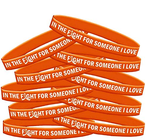 in The Fight for Someone I Love Leukemia MS Kidney Cancer Wristband Bracelet 10-Pack (Orange)]()