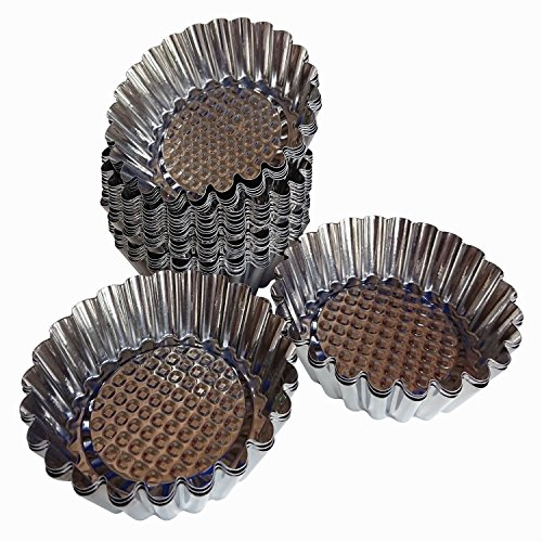 Axe Sickle 12pcs Mini Pie Pan, Round Shape Egg Tart molds, DYA Baking molds For Muffin Desserts Cake. (Quiche Pan Round)