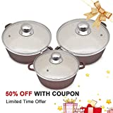 KI 6pcs 2.4/3.1/5.5qt Ceramic Nonstick Cookware Set Casserole Set Aluminum Pots Review