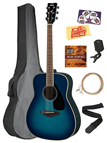 Acoustic Folk Guitar Body (Yamaha FG820 Solid Top Folk Acoustic Guitar - Sunset Blue Bundle with Gig Bag, Tuner, Strings, Strap, Picks, Austin Bazaar Instructional DVD, and Polishing Cloth)